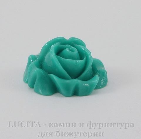 """Кабошон акриловый """"Роза"""", цвет - морская волна, 15 мм"""