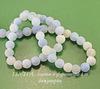 Бусина Агат цветочный матовый (тониров), шарик, цвет - бледно-васильковый, 8 мм, нить ()