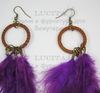 Серьги с перьями на колечке , цвет швенз - бронза , цвет пера - фиолетовый ()