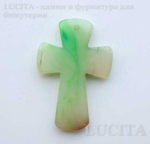 """Подвеска Агат (тониров) """"Крест"""" прозрачно-зеленый с белыми полосками 51,7х34,7х6,2 мм ()"""