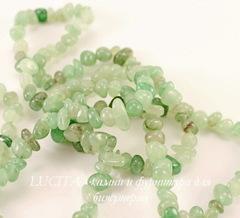 Бусина Авантюрин, крошка, цвет - зеленый, 6-13 мм, нить