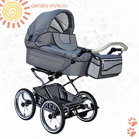 """Коляска Stroller B&E """"Maxima Retro-Mega"""" 2в1"""