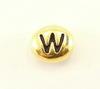 "Бусина овальная TierraCast ""Буква W"" (цвет-античное золото) 7х6х3 мм"