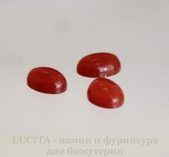 Кабошон овальный Агат Красный (прессов., тониров.) 8х6 мм