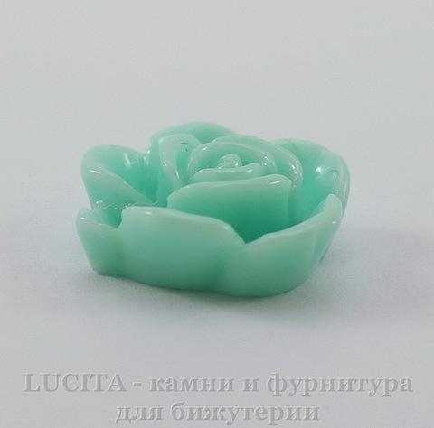 """Кабошон акриловый """"Роза"""", цвет - ментоловый, 15 мм"""