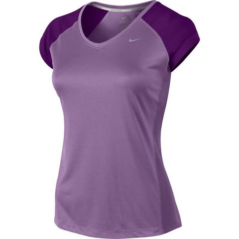 Футболка Nike Miler SS V-Neck Top (WOMEN) фиолетовая