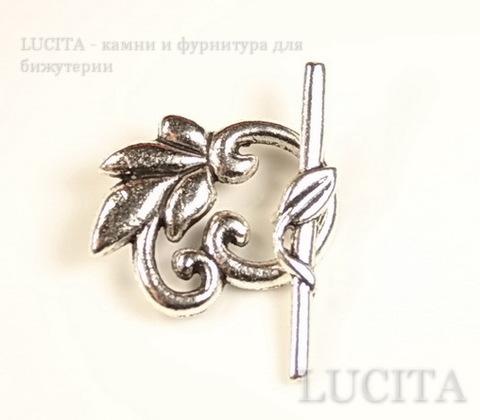 "Замок - тоггл из 2х частей ""Листик"" 24х19 мм, 33 мм (цвет - античное серебро)"