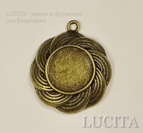 Сеттинг - основа - подвеска 27х23 мм для кабошона или камеи 13 мм (цвет - античная бронза) ()