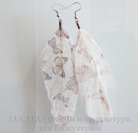 """Серьги с перьями , с рисунком """"Бабочки-1"""" , цвет швенз - никель"""