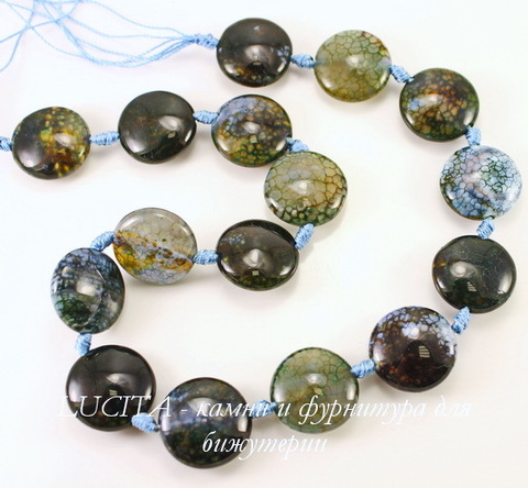 """Бусина Агат """"Вены дракона"""" (тониров), круглая плоская, цвет - черно-голубой микс, 20х9 мм, нить"""