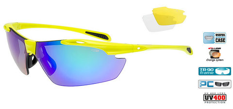 Спортивные очки goggle RAVEN race neon yellow