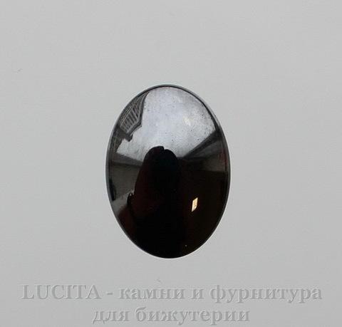 Кабошон овальный Гематит, цвет - глянцевый черный, 18х13х5 мм