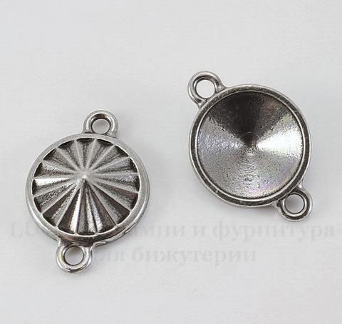 """Сеттинг - основа - коннектор TierraCast """"Грани"""" (1-1) для страза 14 мм (цвет-античное серебро)"""