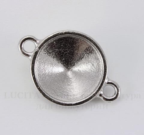 """Сеттинг - основа - коннектор TierraCast """"Грани"""" (1-1) для страза 14 мм (цвет-платина)"""