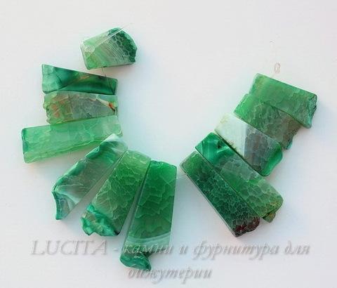 """Бусина Агат """"Крэкл"""" (тониров), цвет - зеленый, 25-78 мм, нить"""