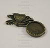 "Сеттинг - основа ""Бабочка"" 39х14 мм для камеи или кабошона 9 мм (цвет - античная бронза) ()"