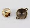 """Сеттинг - основа - коннектор TierraCast """"Грани"""" (1-1) для страза 18 мм (цвет-античная латунь)"""