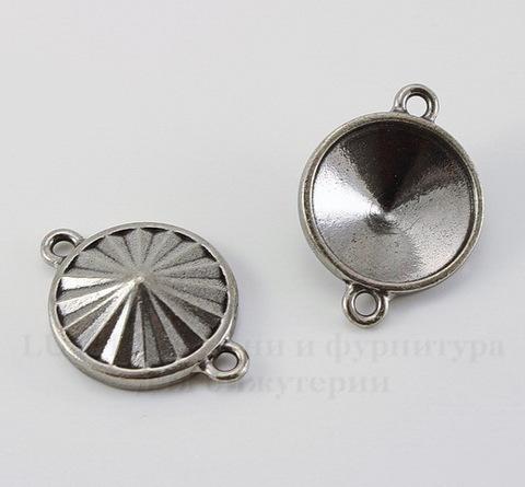"""Сеттинг - основа - коннектор TierraCast """"Грани"""" (1-1) для страза 18 мм (цвет-античное серебро)"""