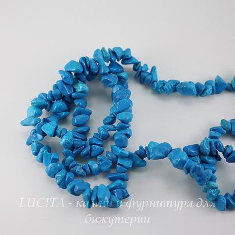 Бусина Бирюза искусств.(тониров), крошка, цвет - голубой, 5-12 мм, нить 83-86 см