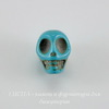 "Бусина Бирюза (искусств), ""Череп"", цвет - голубой, 12х10 мм, 10 штук"