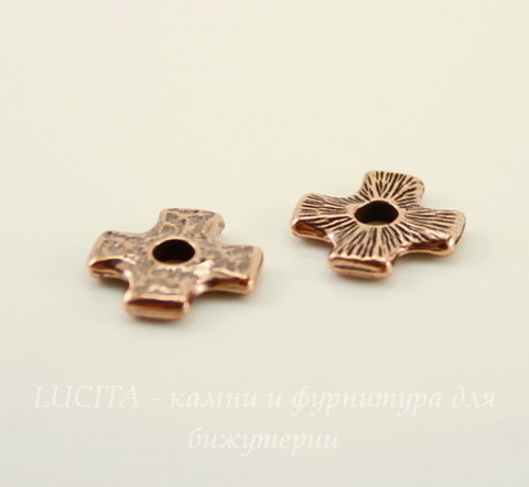 "Элемент под заклепку TierraCast ""Крест"" 11х11 мм (цвет-античная медь)"