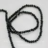 Бусина стеклянная, рондель с огранкой, цвет - черный, 3х2 мм, нить