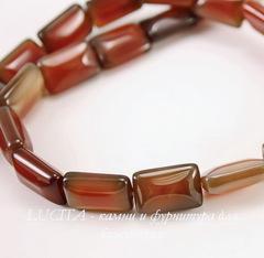 Бусина Агат (тониров), прямоугольная плоская, цвет - коричневый, 15х10 мм, нить