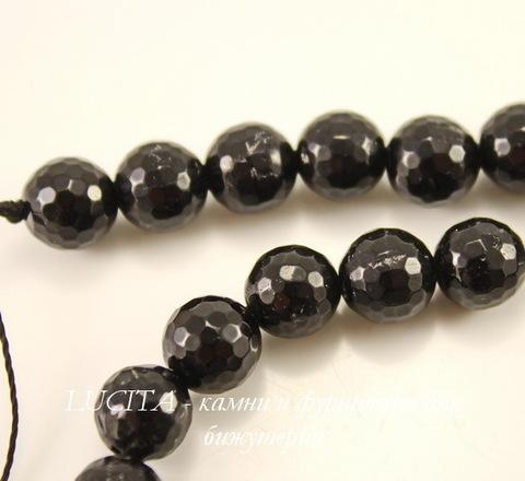 Бусина Турмалин, шарик с огранкой, цвет - черный, 8 мм, нить ()