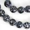 """Бусина Агат """"Крэкл"""" (тониров), шарик с огранкой, цвет - черный, 8 мм, нить"""