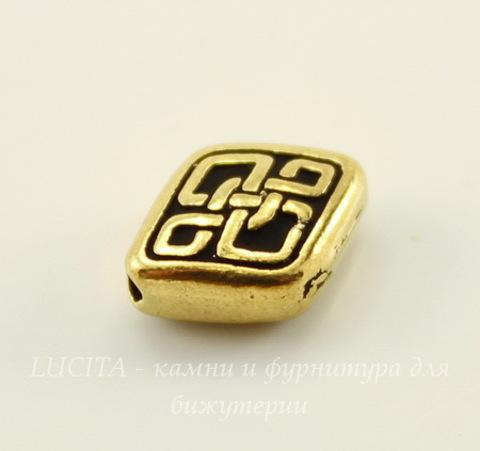 """Бусина ромб TierraCast """"Кельтская"""" (цвет-античное золото) 11х9 мм"""