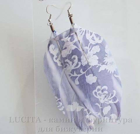 """Серьги с перьями , с рисунком """"Белые цветы"""" , цвет швенз - никель ()"""