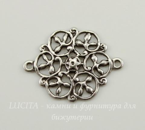Винтажный декоративный элемент - коннектор - филигрань (1-1) 18х14 мм (оксид серебра)