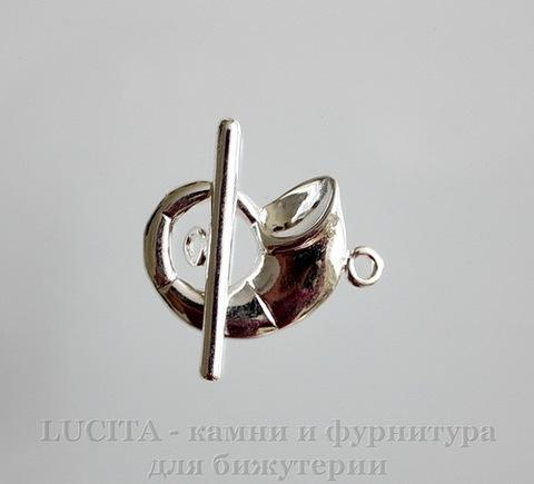 """Замок - тоггл из 2х частей """"Морская раковина"""" (цвет - серебро) 27х20 мм , 29 мм"""