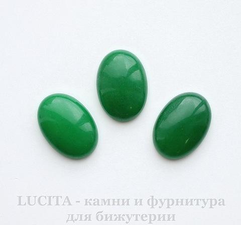 Кабошон овальный Жадеит (тониров) (цвет - зеленый) 25х18х7 мм ()