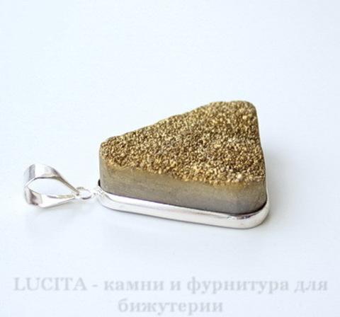 Подвеска Кварц в рамке (цвет - античное серебро) 37х28х11 мм №7