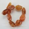 Бусина Сердолик с огранкой, цвет - оранжево-коричневый, нить