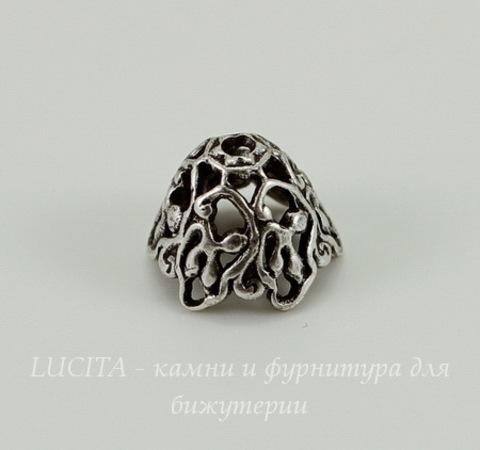 Винтажный декоративный элемент - шапочка 9х7 мм (оксид серебра)
