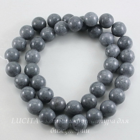 Бусина Жадеит (тониров), шарик, цвет - серый, 10 мм, нить