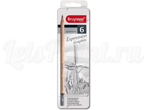 Набор карандашей для графики Bruynzeel Expression 6 типов жесткости, в метал. кор.