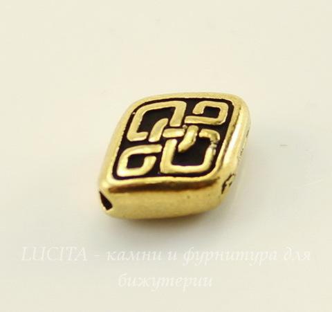 """Бусина ромб TierraCast """"Кельтская"""" 11х9 мм (цвет-античное золото)"""