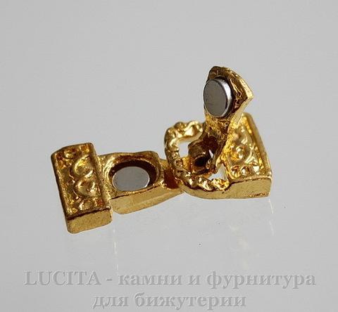 Замок магнитный из 2х частей на 3 нити 23х12 мм (цвет - золото)
