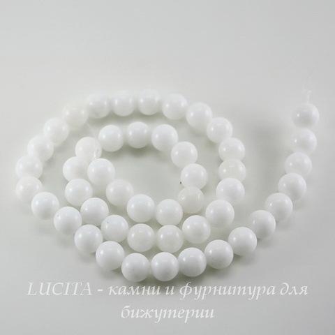 Бусина Жадеит (тониров), шарик, цвет - белый, 8 мм, нить