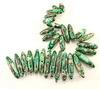 Бусина Яшма Императорская (прессов.,тониров), продолговатая, цвет - зеленый, 15-45 мм, нить