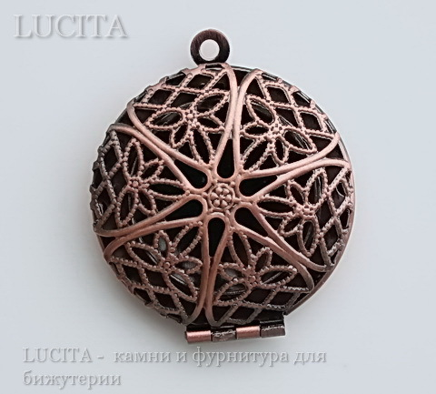 Медальон - подвеска ажурная (цвет - античная медь) 32х27 мм