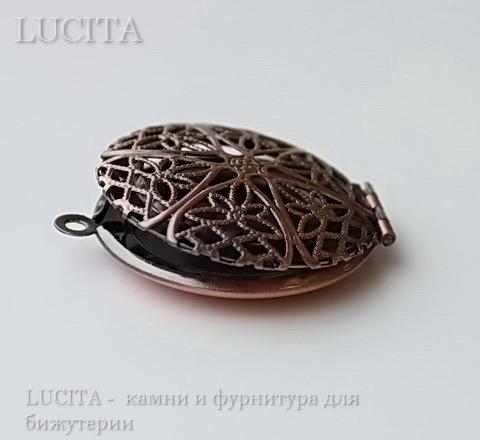 Медальон - подвеска ажурная (цвет - античная медь) 32х27 мм ()