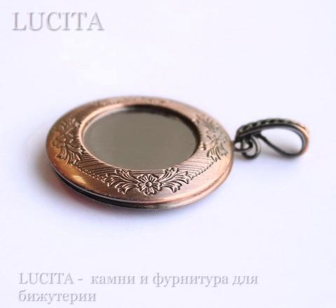 Медальон - подвеска 45х32 мм с сеттингом для кабошона (цвет - античная медь) ()