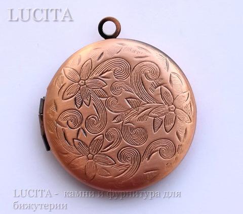 """Медальон - подвеска """"Цветы"""" (цвет - античная медь) 31х27 мм ()"""
