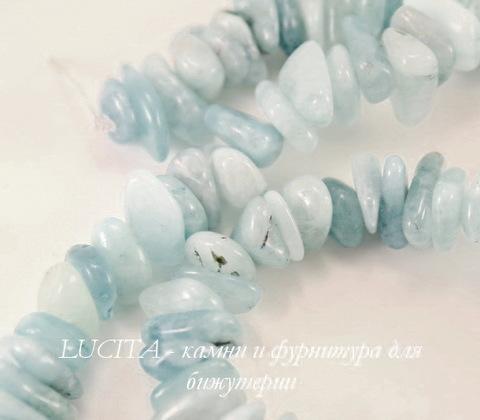Бусина Аквамарин, крошка, цвет - голубой, 3-8 мм, нить 40 см