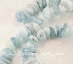 Бусина Аквамарин, крошка, цвет - голубой, 3-8 мм, нить