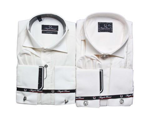 Мужская приталенная рубашка Angelo Roma под бабочку шампань в комплекте с запонками